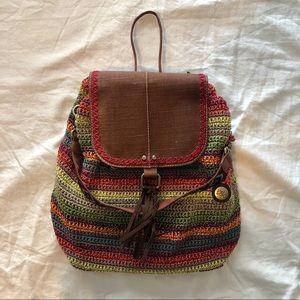 The Sak Avalon crochet multi-color backpack purse